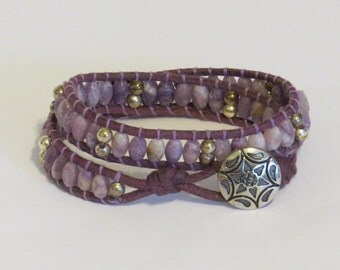 E-1715 Amethyst and silver wrap bracelet