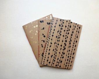 Notebook, recycled paper, original designs, silkscreen