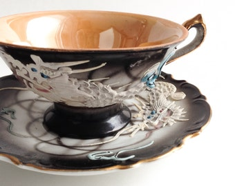 Black dragon japanese teacup, Vintage tea cup, Japan teacup, Teacup and saucer, Vintage black tea cup, Teacup and saucer, Japanese teacup