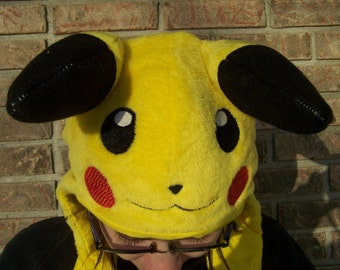 Pikachu Hat with hand pockets--Minky Pikachu Hat--Embroidered Pokemon Hat