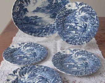 Myott England Blue Ironstone- The Hunter- 5 pieces set-Oval Platter and Bread Plattes