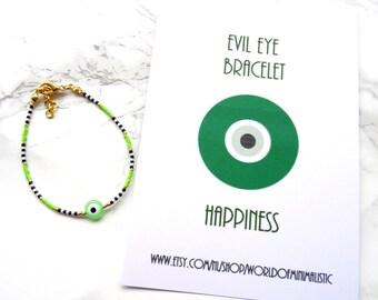 Green evil eye bracelet, dainty delicate seed beads evil eye bracelet, evil eye jewelry, protection bracelet, minimalist bracelet