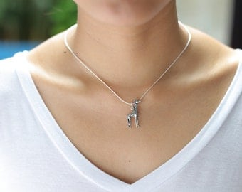 Giraffe Silver Charm, Silver Pendant, Animal Charm, Silver Necklace, Bohemian Necklace, Gift For Her, Gift Under 15, Neck Piece, (P83)