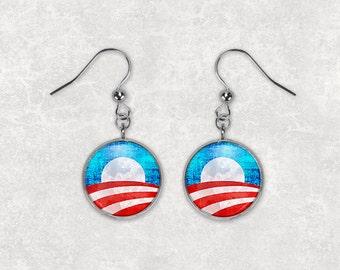 obama earrings etsy