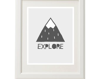 Mountain print, mountain art, mountain illustration, mountains nursery decor, woodland nursery print, mountain wall art, downloadable print