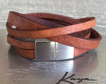 Bracelet Leather Womens Cuff Magnetic Double Wrap, Silver Clasp, Genuine Leather, Gift, Birthday, Anniversary, Bridesmaids, Kaya Leather