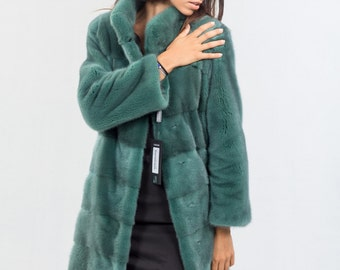 Green Mink Nafa Coat, Mink Fur, Luxury Outfit, Top Quality, Craftmanship, Tailored Coat, Jacket, Nerz, Pelzmantel, Real Fur Coat, Greek Fur