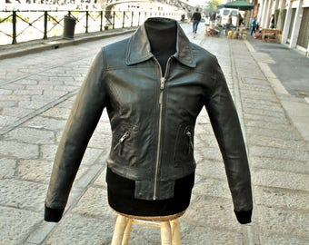 Fonzie leather jacket vintage years 70 dark charcoal gray sz S