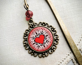 Ornate heart book hook / bookmark with dangling glass cabochon accent