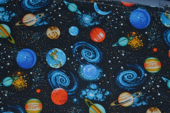 Space fabric cotton fabric quilting fabric fabric by for Fabric planets solar system