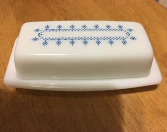 Vintage Pyrex Blue Snowflake Garland Butter Dish