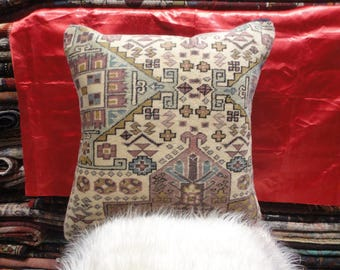 oushak pillow,cushion cover,throw pillow,oushak rug 50'' x 50'' hand-made rug,country decor, vintage case,lumbar pillow ,pillow cover