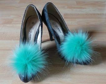 Pair of Pom Pom Shoe Clips Sea Green Faux Fur 10 to 14 cm pom pom.
