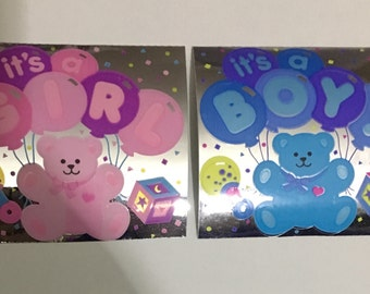 Vintage Set of Boy and Girl Baby Shower Bear Stickers. Pink Bear, Blue Bear, Hearts, Balloons, Party
