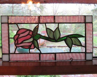 Stained glass rose, rosebud, pink, textured glass, window panel, glass panel, art glass
