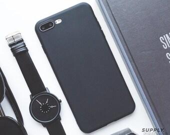 iPhone 7 Plus Case - Matte Black - Rubber iPhone Case, iPhone Case Black, iPhone 7 Case, Minimalist iPhone Case, Soft iPhone Case, Matte