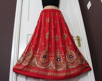 Ladies Boho Hippie,Gypsy, Long Skirt, Party Heavy Sequin, Red with black inset, Block Painted,Handmade Ethnic,Belly Dance,freesize S M L XL