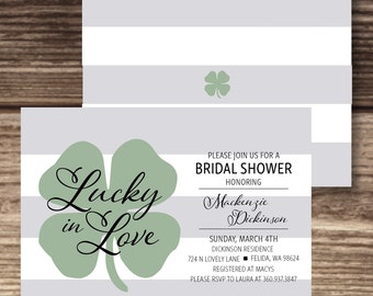 Lucky In Love Bridal Shower / Irish Wedding Invite / St. Patrick's Day Invitation / Four Leaf Clover / Party / Printable Digital PDF File
