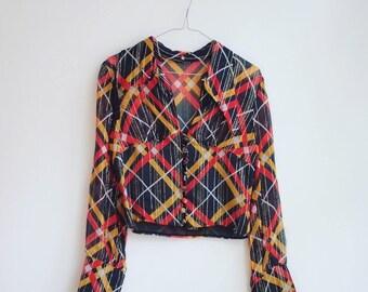Vintage hippie boho lurex 80-ies party blouse S