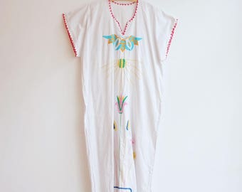 Vintage hippie sixties seventies boho cotton kaftan dress S