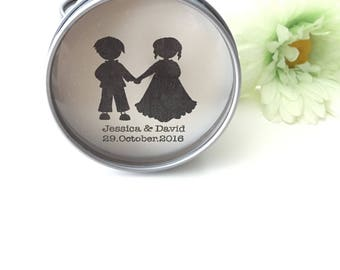 Boy and girl papercut- Personalised Candle Tin Favours Wedding