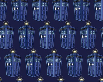 BBC Doctor Who Tardis Repeat Knit- cotton spandex blue phone booth cotton lycra spandex 4way stretch jersey licensed  fabric