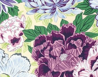 Snow Leopard Designs Floating World Hokusai in Serene freespirit cotton quilting white green purple flowers fabric material the metre yard