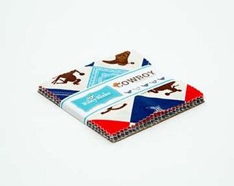 """Riley Blake Cowboy 5"""" Stackers (charm pack) by Samantha Walker (42 pcs) 5-5630-42 western hat boots saddle cotton precut quilting fabric"""