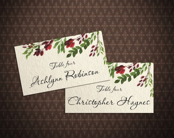 Watercolor Red Berries Place Cards, DIY Place Card Printable, Editable Place Cards, Digital File, code-036