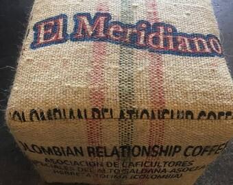 Burlap Coffee Ottoman