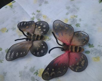 Pair Nylon Butterfly Magnets - Vintage