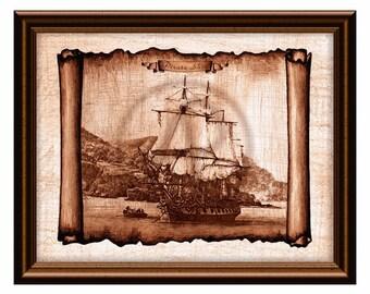 Pirate Ship Print,Pirate ship Art,Vintage Ship,Old Ship,Wall Art,Pirates Art,Antique Sail Ship,Pirate Poster,Sailboat,Instant Download,Gift