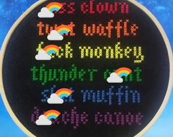 The offensive rainbow - Subversive cross stitch / embroidery