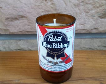 Beer bottle soy candle Wisconsin beer Pabst Blue ribbon