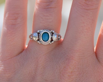 Turquoise Gemstone Vintage Solitaire 925 Silver Ring, US Size 7.0, Used Jewelry