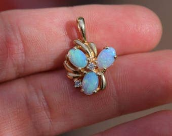 Vintage Opal & Diamond 14 Karat Yellow Gold Pendant, Used Birthstone Charm