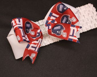 Baby Toddler Girl New York Giants inspired Football hair bow bling rhinestone bow crochet elastic headband hair bow red white OSFA