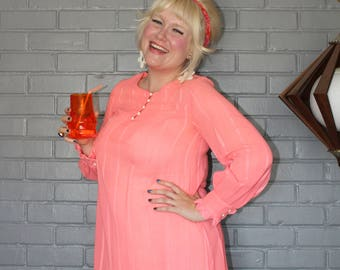 Vintage 1960's Pink Peachy Long sleeve tent dress