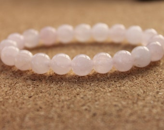 8mm Rose Quartz Bracelet, Pink Bracelet, Womens Bracelet, Beaded Bracelet, Gift for Women, Gift for Mom, Quartz Jewelry, Quartz Bracelet