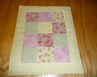 Doll quilt, FREE SHIPPING!!, doll blanket, flannel patchwork, yellow border