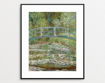 Monet - Bridge over a Pond of Water Lilies, 1899 - Reproduction - Monet Wall Art - Monet Print - Claude Monet Painting - Famous Painting