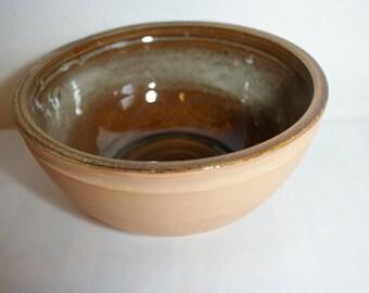 Bowl,large bowl,Autumn brown glaze,polished outer, d 21.5 cms, ht.10  cms,