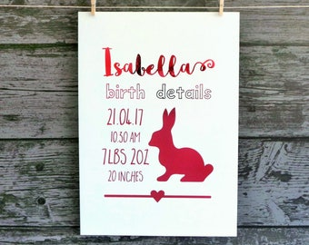 Custom Birth Details Foil Print, Personalised Print, Bunny Foil Print, Nursery Decor, Pink Foil Print, Girl's Room Decor, Custom Name Print