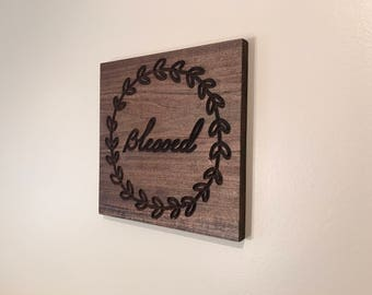 Blessed square wood sign