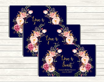 Navy Gold Personalized Boho Printable Candy Bar Wrappers, Floral Hershey Chocolate Wrapper, Shower Wedding Favor Wrapper, Download 110-NG
