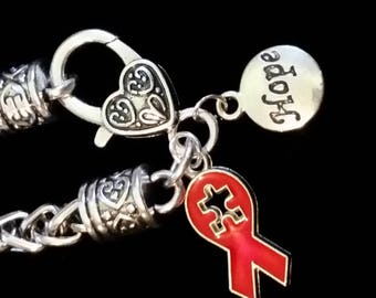 Autism Bracelet with Heart shaped Lobster Clasp