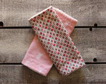 Organic Baby Burp Cloths, Burp Cloth Set, Rustic Burp Cloths, Baby Girl Burp Cloths, Chenille Burp Cloths, Flower Burp Cloth