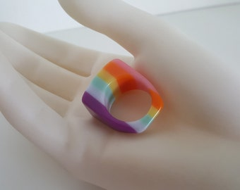Vintage Striped Cellulose Acetate Ring - Laminated Acetate - Plastic Lucite Rainbow of Color - size 8 1/2