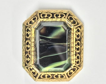 A Charming Vintage, Antiqued Gold Tone and Green Stone Brooch