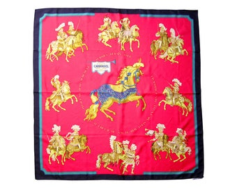 Vintage HERMES Scarf CARROUSEL horse pattern Knight red black green tagged